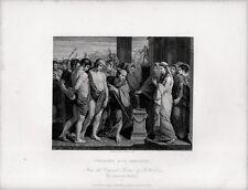 Stampa antica PILADE E ORESTE davanti a IFIGENIA mitologia 1840 Old print
