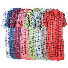 Cotton Blend Checked Collared Tops & Shirts for Women
