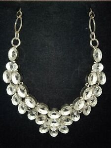 FACETED CLEAR TOPAZ 925 INDIAN SLIVER BREAST PLATE NECKLACE ~ FREE POSTAGE