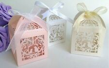 100PCS Love Bird Heart Laser Cut Candy Gift Boxes W/Ribbon Wedding Party Favors
