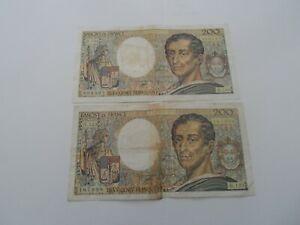 lot de 2 billets 200 francs montesquieu 1992 h.123/h.134