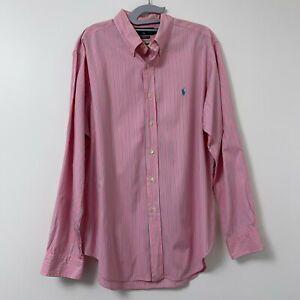 Ralph Lauren Polo Men Pink Stripe w/ Green Pony Dress Shirt Sz 16 1/2 - 34/35
