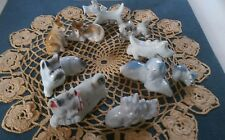 Vintage Dog Figurine Small Miniature Puppy Porcelain Ceramic Japan set of 10