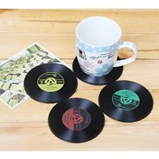 4pcs Vinyl Coaster Retro CD Record Cup Drink Holder Mat Tableware Placemat