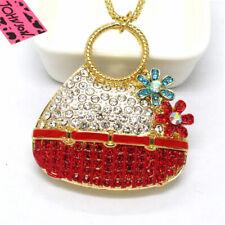 Hot Betsey Johnson Red Enamel Cute Basket Flower Crystal Pendant Chain Necklace