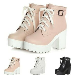 Women Ankle Boots Ankle Buckle Lace Up Platform Block Heel Combat Casual Shoes B
