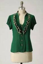 Anthropologie Odille Dewpoint Blouse 8 Green Ruffled Cap Sleeve Rayon