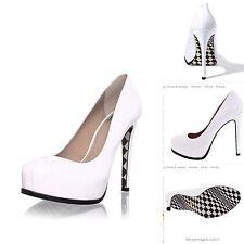 Pour La Victoire Irina Tiled Checkered Retro PinUp Platform Bridal Heels White 6