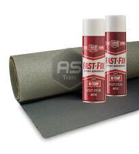 3m x 1.6m ExtraWide Headlining Textured DK Grey FoamBacked + 2 HiTemp Spray Glue
