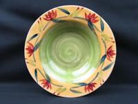 Elizabeth by Pier 1 Soup Pasta Bowl Red Blue Floral On Green Yellow L289