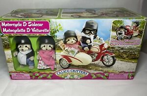 Open Box Calico Critters of Cloverleaf Corner Motorcycle & Sidecar 2 Raccoons