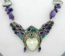 SAJEN Sterling Silver Amethyst Abalone Iolite GODDESS FACE Beaded NECKLACE