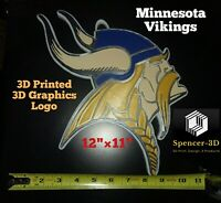 "3D PRINTED NFL Minnesota Vikings 3D Graphics Logo Wall Sign 12"" x 11""×1.25"""