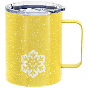 Stainless Steel Snowflake Travel Coffee Mug with Lid and Handle, Yellow, 12 oz.