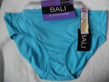 3 BALI COTTON POLYESTER HIPSTERS PANTIES TURQUOISE/ BLUE,GRAY, WHITE PRINT 9/2XL