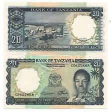 TANZANIA 20 SHILLINGS 1966 PICK 3 E UNC