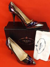 PRADA  MULTI COLOR PATENT METALLIC PLEATED LEATHER PLATFORM PUMPS 40.5 9.5 $600