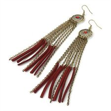NEW 13cm INDIAN TRAPPER STYLE DANGLE DROP EARRINGS CRYSTAL CHAIN LEATHER TASSEL