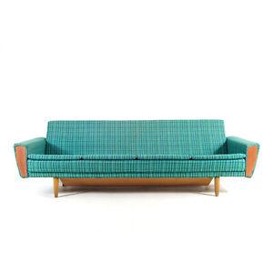 Retro Vintage Danish Design Teak 3 / 4 Seat Daybed Sofa Bed Studio Couch 50s 60s