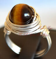 Natural Gemstone Crystal Tiger's Eye Hand Crafted Silver Copper Wire Ring Large