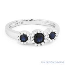 0.73ct Round Cut Sapphire & Diamond Pave Three-Stone Halo Ring in 14k White Gold
