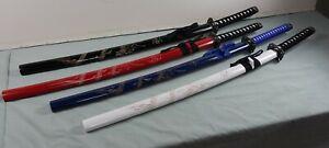 "39"" Single White Black Dragon Engraved Katana Samurai Fighter Sword Steel Ninja"
