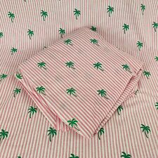 Tommy Hilfiger Twin Sheet Set Flat and Fitted Pink Stripes Palm Trees Face Mask
