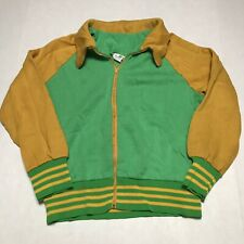 Vintage 70s Multicolor Color Block Tennis Jacket Green/Yellow Size L