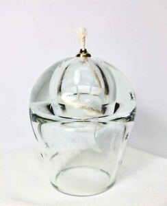 Hand Blown ART GLASS OIL LAMP Clear ETCHED MOON & STARS POLAND