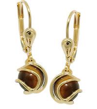 ECHT GOLD *** Ohrringe Ohrhänger Tigerauge Perle im Käfig 23 mm