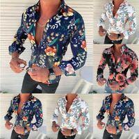 Men's Slim Long Sleeve Flower Printed Shirt Fit Slim Button Front Blouse Tops
