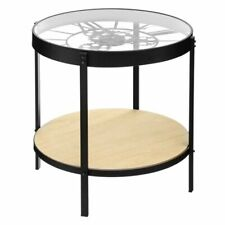 CLOCK SIDE TABLE WITH ROUND WOODEN STORAGE SHELF 50.5 X 49 CM RETRO STYLE