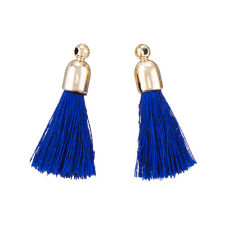 Cotton Tassel Charms & Gold Plated Caps 32mm (Blue) Pack of 2 (K70/5)