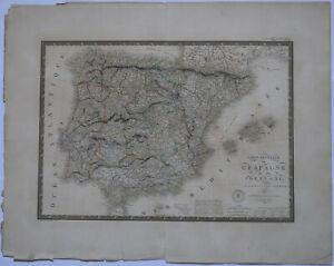 "Original 1821 Spain + Portugal - Brue Atlas 26"" x 21"" huge map - Antique"