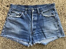 Vintage Levis 501 Redline Single Stitch Cut Off Denim Shorts Jeans 32