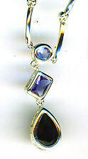 925 Sterling Silver Necklace 3 Blue Stones Different Shades & Shapes Length 16""