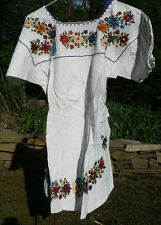 Maya Mexican Blouse Top Shirt Embroidered Flowers Chiapas White Medium M #RH