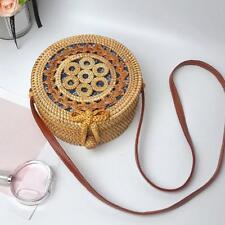 Circle Handwoven Bali Round Retro Rattan Straw Beach Bag Crossbody