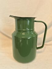 """Vintage Hungarian LARGE Green Enamel Water Pitcher, 10"""" by 6"""""""