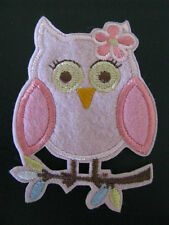 pink owl girl iron on applique patch image embroidered embellishment