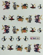 Nail Art Water Decals Halloween Witch on Broom Hat Pumpkin Black Cat BJC041