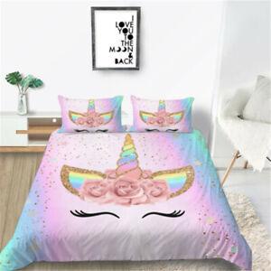 Milsleep Girl Style  Unicorn 2/3PCS Bedding Set Bed Duvet Cover Gift For Girl