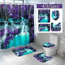 Falls Floral Scenery Shower Curtain Toilet Lid Cover Bath Mat Rug Bathroom Decor