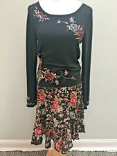 ECI NY Sz 10  Black Skirt & Sweater Outfit Set Silk Linen Embroidered