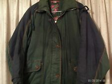 OILILY WOMEN'S COAT DARK GREEN ZIPPER FRONT FLANNEL LINING