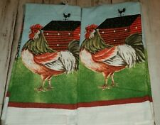 """NWTS Matching Set of 2 ROOSTER  Kitchen Towels 15"""" x 25"""" Farm Barn Bold Colors"""
