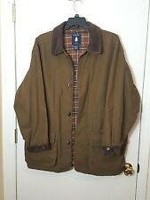 Roundtree & Yorke Barn Coat Men's Plaid Flannel Lined Jacket Brown Size Large