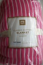 NWT Pottery Barn Teen FULL QUEEN 100% Cotton Bed Blanket Pink White Stripe Dorm