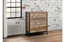 Rustic 4 Drawer Chest Unique Metal and Wood Combination Industrial Chic Design