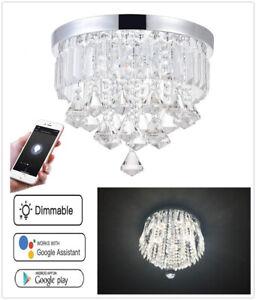 Smart APP LED Crystal Chandelier Luxury Pendant Ceiling Light Lighting Fixtures